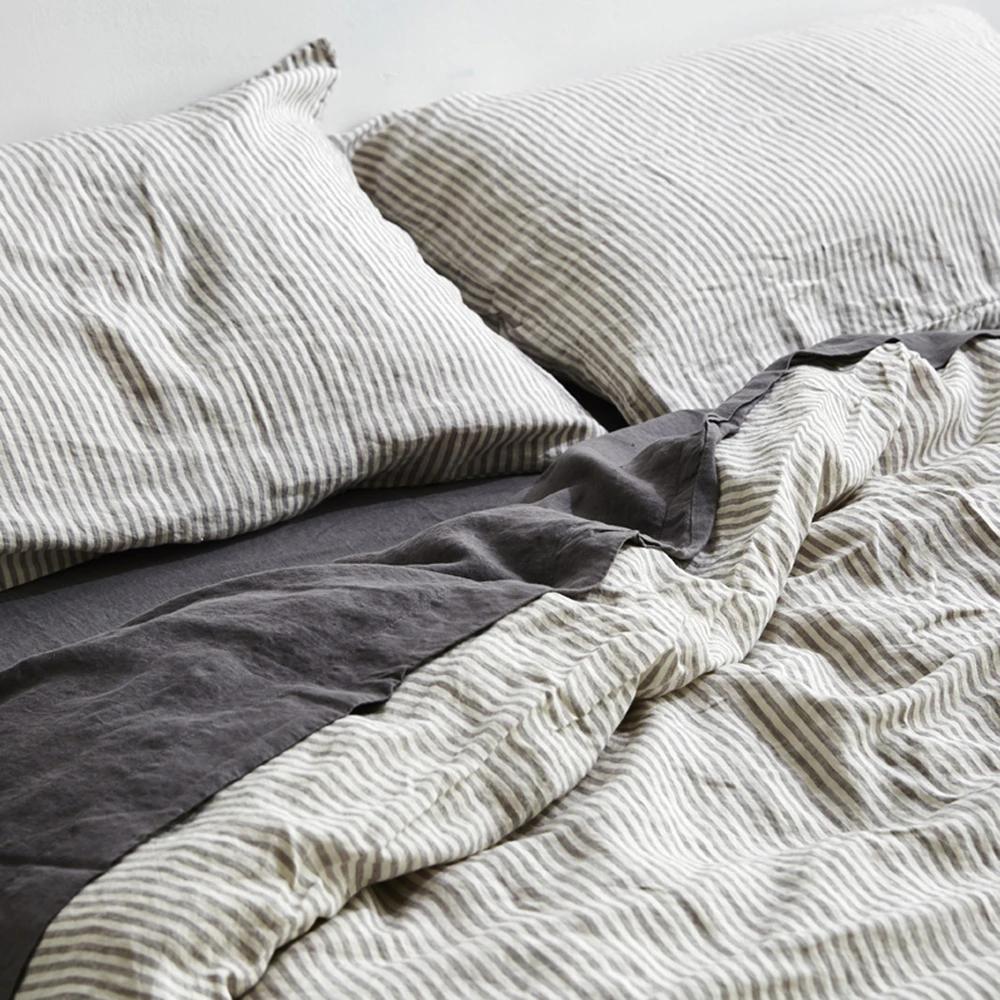 100 Linen Duvet Cover In Grey White Stripe In 2020 Linen Duvet Covers Grey Linen Bedding Linen Duvet