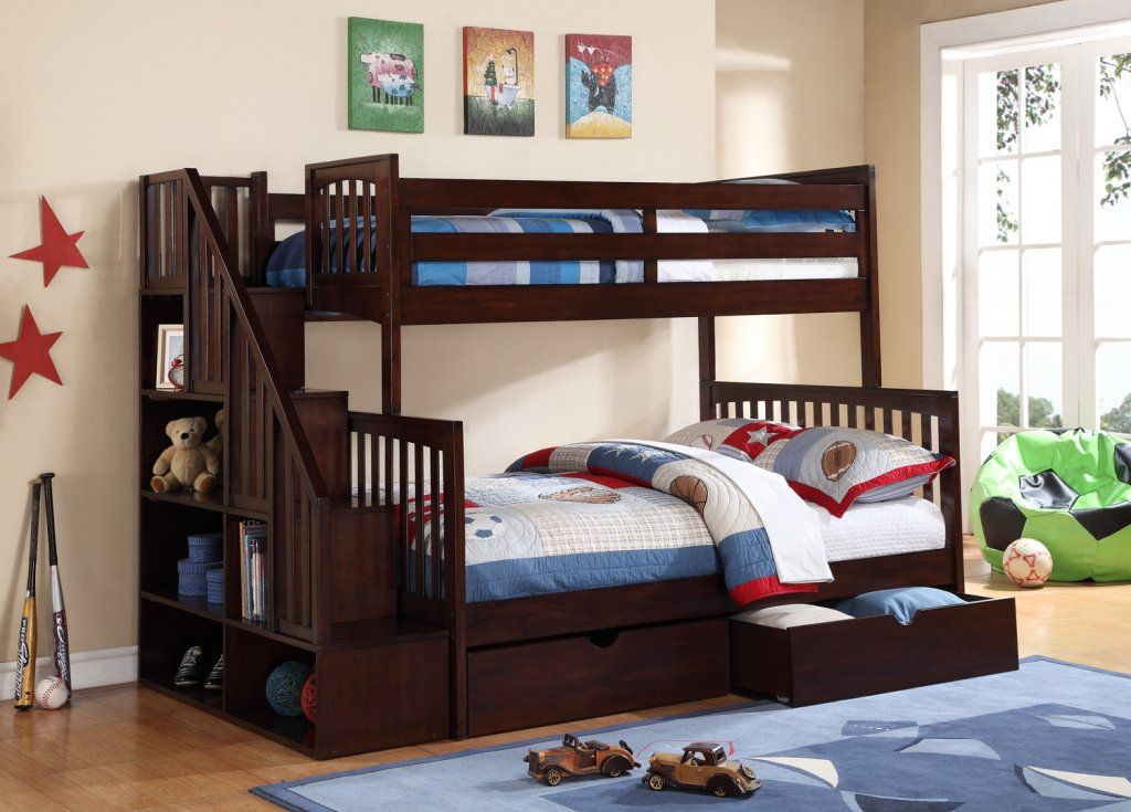 Darren Twin Over Full Bunk Bed With Bookshelf Stairs By Caramia Furniture Gowfb Ca Free Shipping Darren T Kids Bunk Beds Bunk Beds Small Spaces Bunk Bed