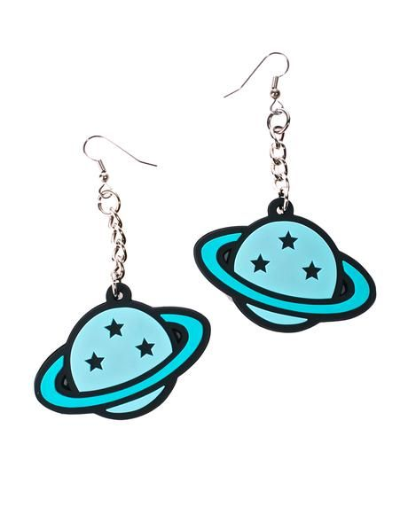 Witch Worldwide Planet Dangle Earrings will have yew feelin' outta this world, bb. These cute lil earrings feature hook posts and a blue planet with lil starz, perfect fer reppin' yer home planet.