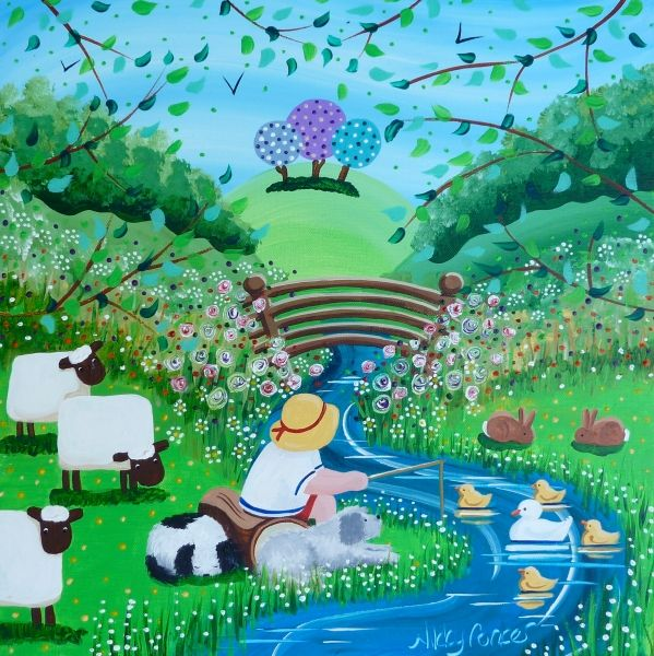View details of original Nikky Corker painting 'Friends Go Fishing'