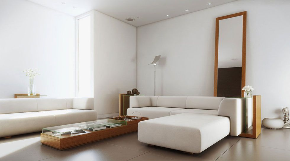 White Simple Living Room With Wood Furniture Inspirations