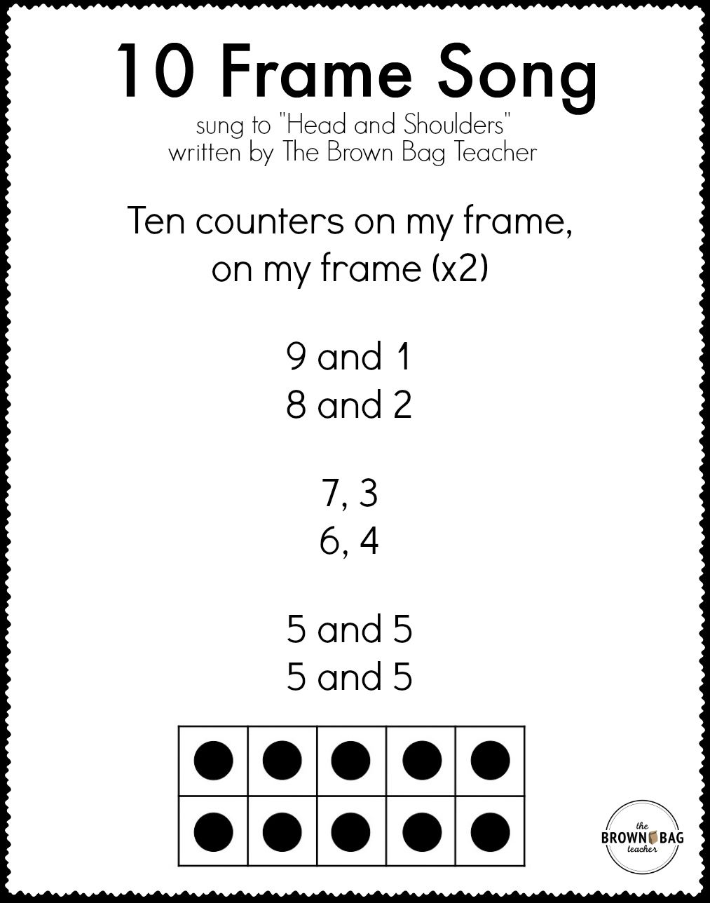 10 Frame Song Printable Lyrics Math Songs Teaching Math First Grade Math