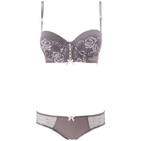 d9a0775ba3 Charlotte Russe Gray Combo Lace   Mesh Long Line Bra   Panty Set by ...