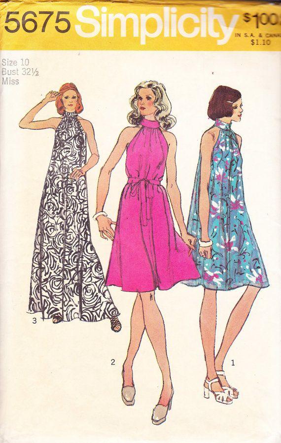 1973 Halter Neck Tent Mini Maxi Disco or Boho Dress Vintage Pattern ...