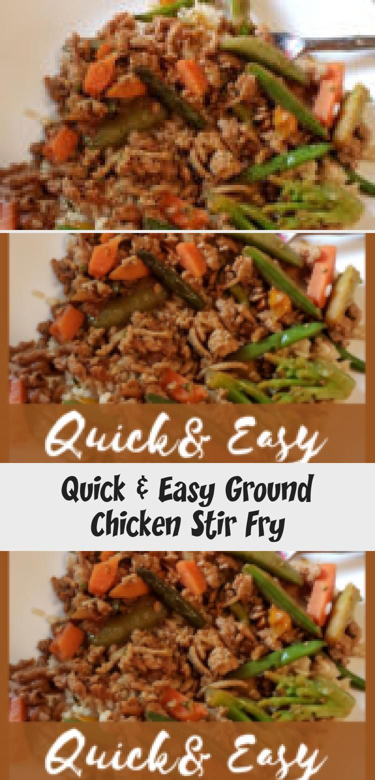 Quick and easy ground chicken stir fry, a healthy dinner recipe for busy nights. #fitandfrugalmommy...