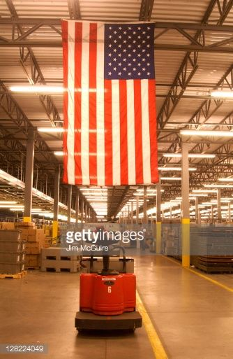 American Flag Displayed In A Fulfillment Center Stock Photo ...