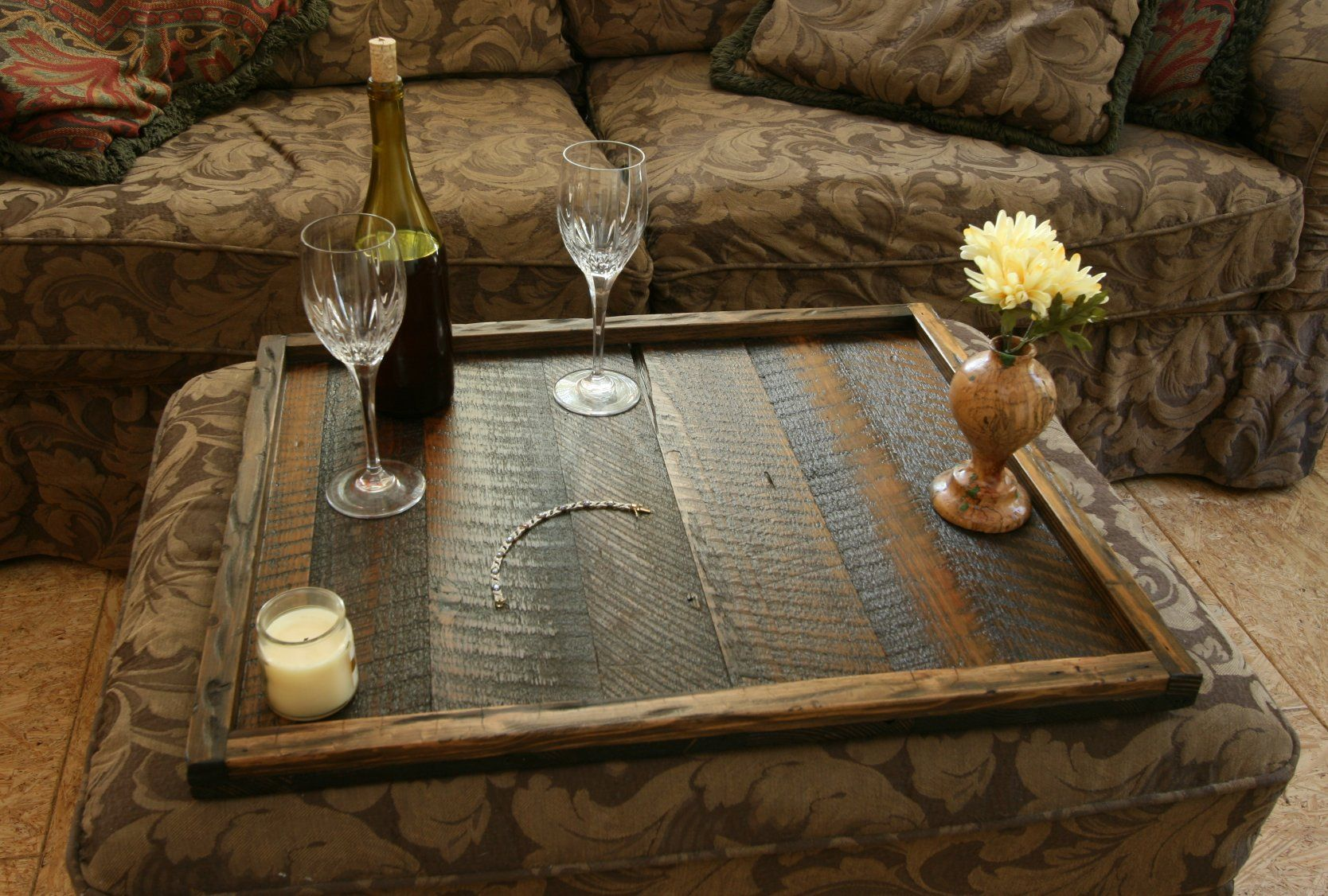Rustic Modern Oversized Ottoman Tray Table Top Serving Breakfast Tray  Available At Www.etsy.