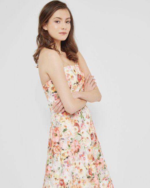 Floral printed appliqué lace dress - Cream | Dresses | Ted Baker UK ...