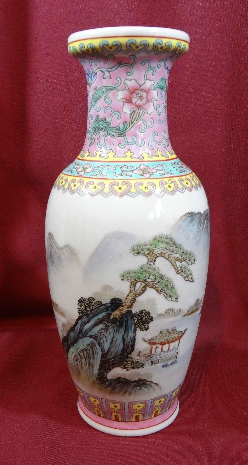 China Chinese Vase Porcelain Landscape 10 Inch Tall Paper Vase