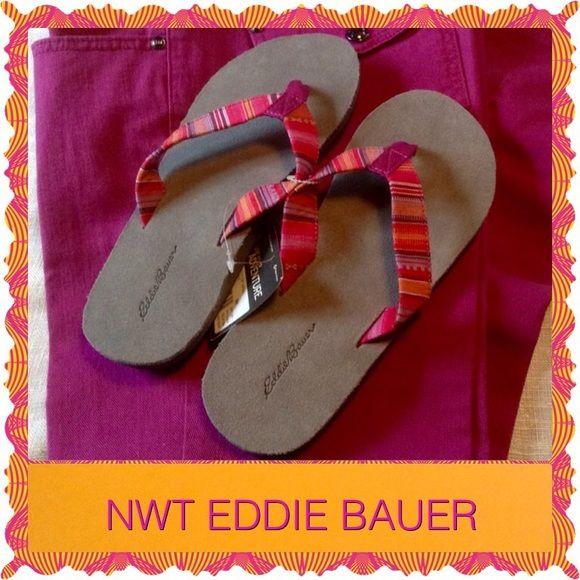 bcea7f3e20c2 NWT Eddie Bauer Flip Flops Beautiful multicolored fabric thong flip flops.  Colors of fuscia