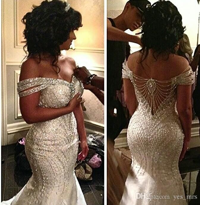 African mermaid wedding dresses 2018 new sexy off shoulder for Bling plus size wedding dresses
