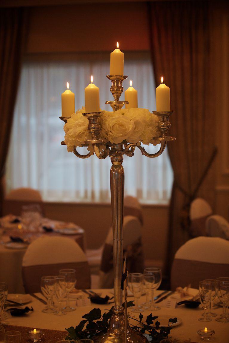 Candelabra table decor candles center piece table runner