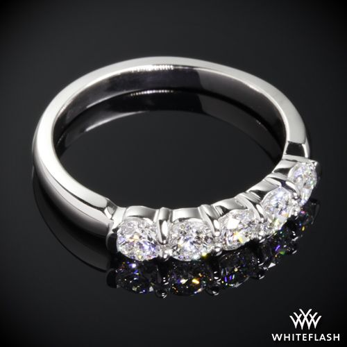 Dazzling Shared G Diamond Wedding Band Set With Five Whiteflash Aca Melee Color F Clarity Vs