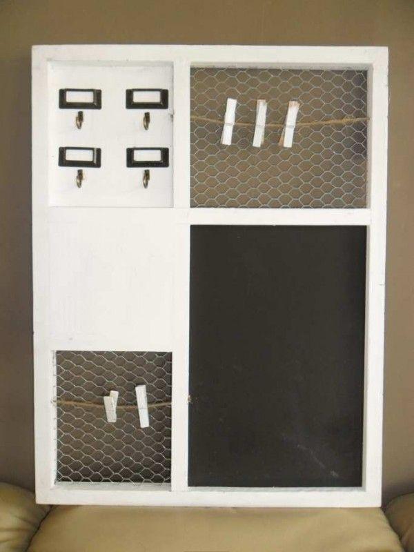 Memo bord wit voor in de keuken met hout pinterest keuken memoborden en wasknijpers - Houten keuken en metaal ...