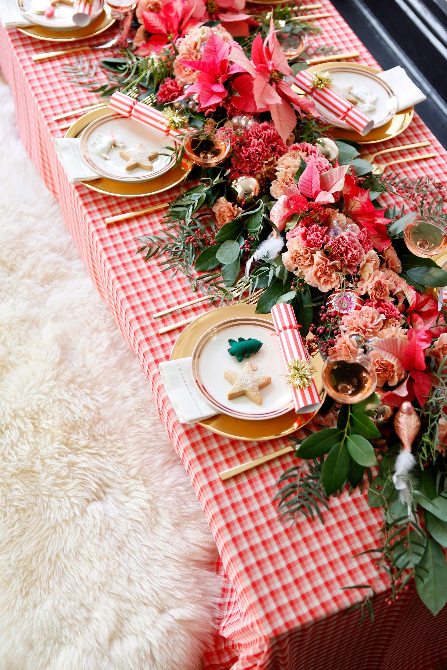 A Playful Plaid Poinsettia Christmas Tabletop Christmas Tabletop Pink Christmas Table Setting Christmas Table Settings