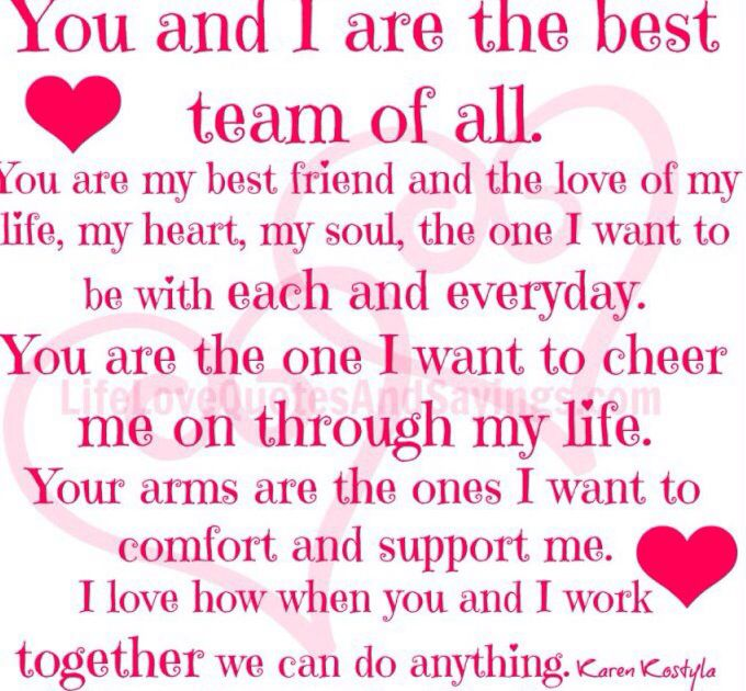 You and I are the best team of all
