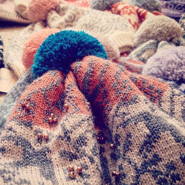 Kutova KiKa knitwear knitted beanie with fuzzy pompom in earthy tones/ www.kutovakika.com