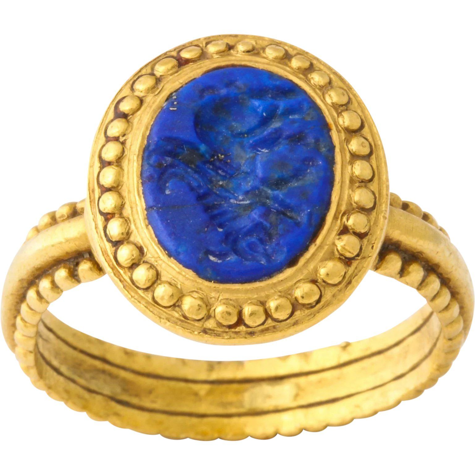 Ancient Roman Sassanian Lapis Intaglio Ring, circa 600 AD