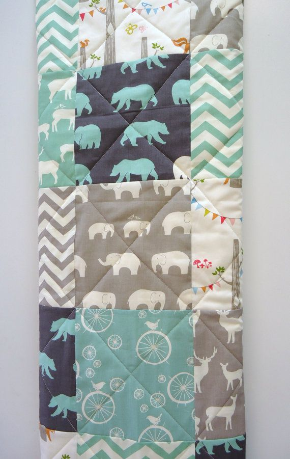 Modern Baby Quilt Organic Boy Bedding Birch Fabric Chevron Gray Grey Aqua Woodland Animal Elephant Deer Blanket On Etsy