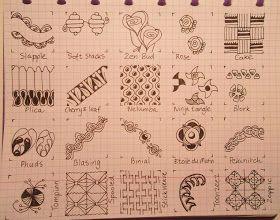 Op deze pagina vind je diverse tangle-patronen.      Op de site  http://www.lineweaving.com/forums  (Pattern List) of http://www.tanglep...