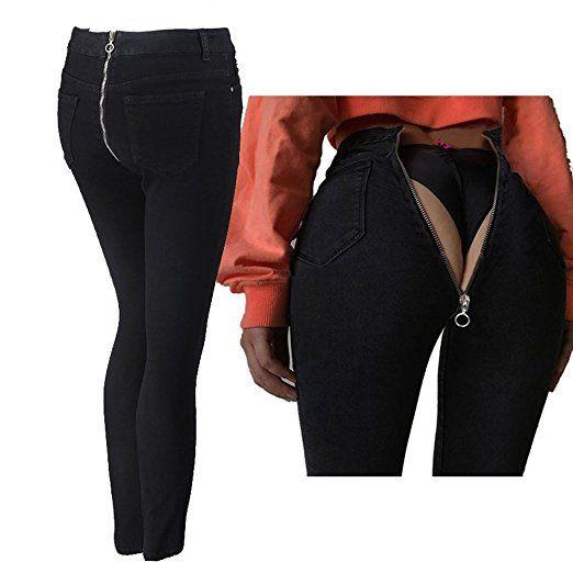 Jeans Damen Straight Jeanshose High Waist Stretch Denim Hosen Mit Hinterem  Reißverschluss Sexy Bleistift Hose Casual da2f3162fd