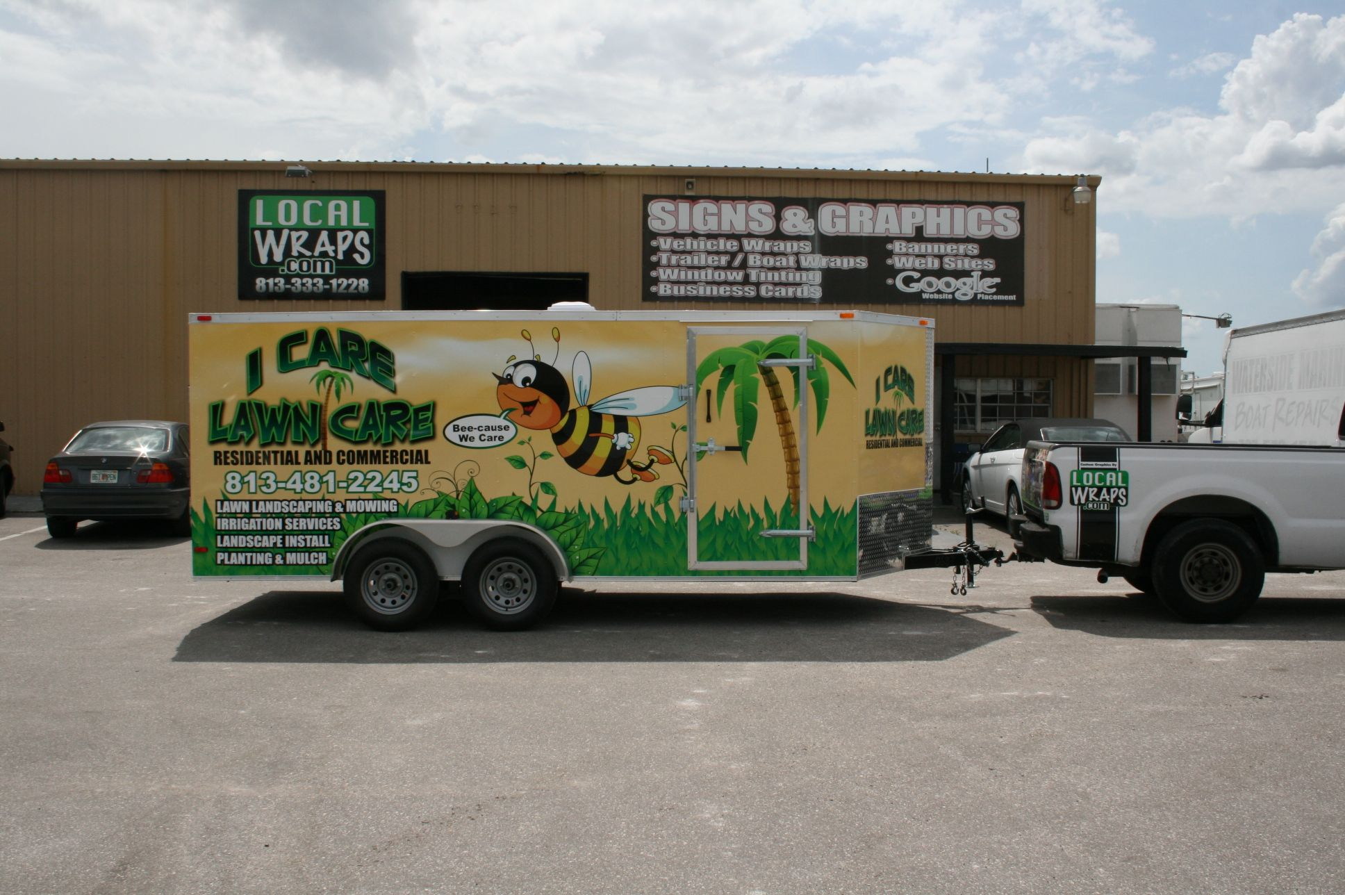 I care lawn care trailer wrap business logos and names for Landscaping company names