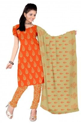 a5cbb3839e Indian traditional Fashion - Unstitched Orange Complete Dress Material for  Suit - Shopbudd.com