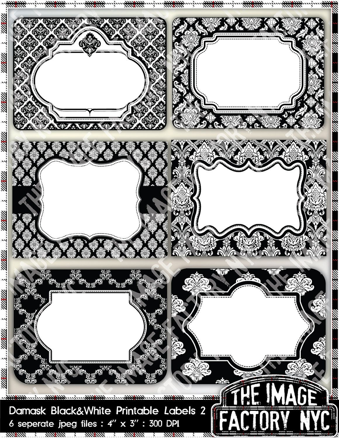 black and white damask printable labels & tags, for gift tags, place