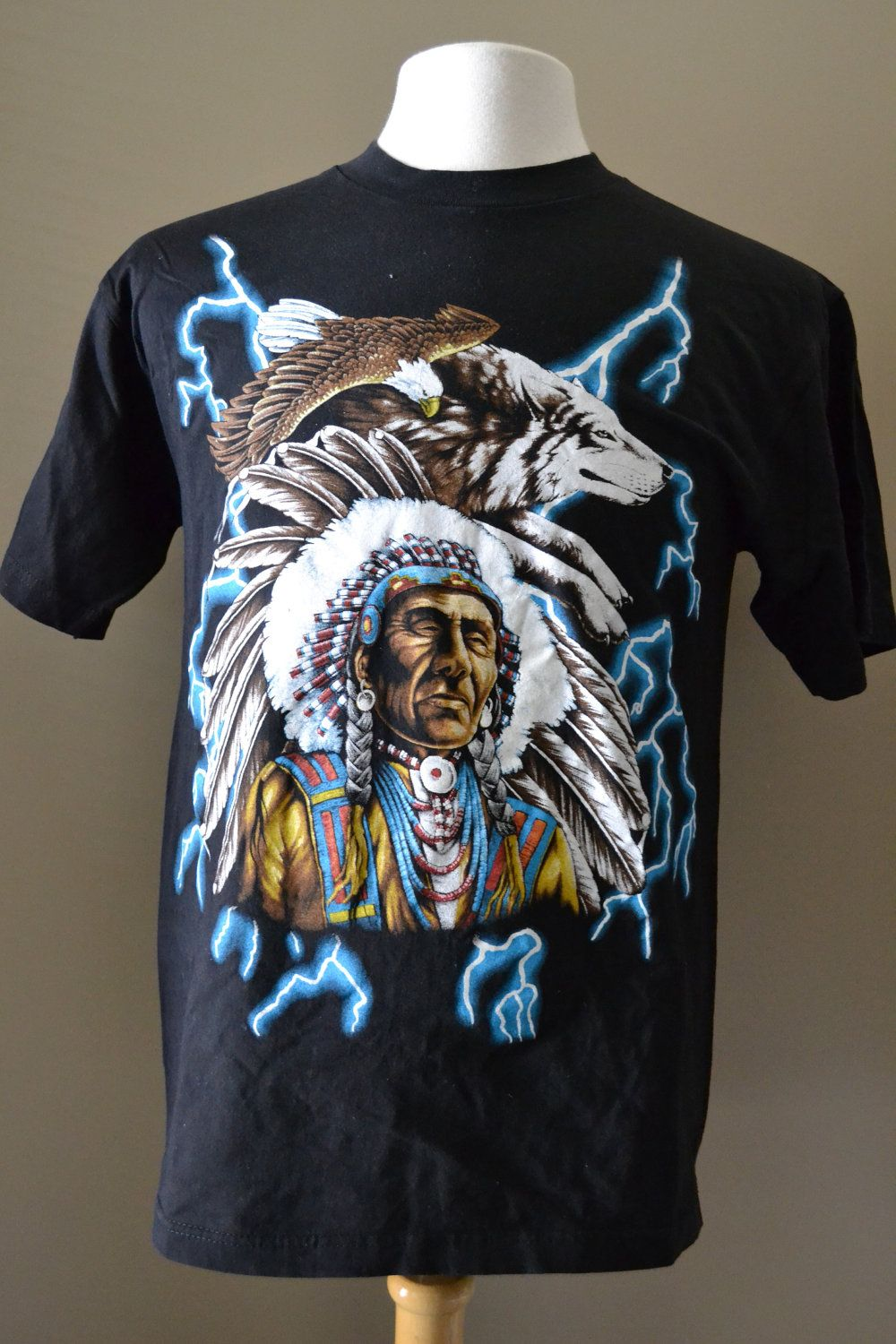 b24fbd17 80s Vintage Native Indian Chief USA Thunder 50/50 Soft Deadstock Black T  Shirt Large TEE1. $24.00, via Etsy.