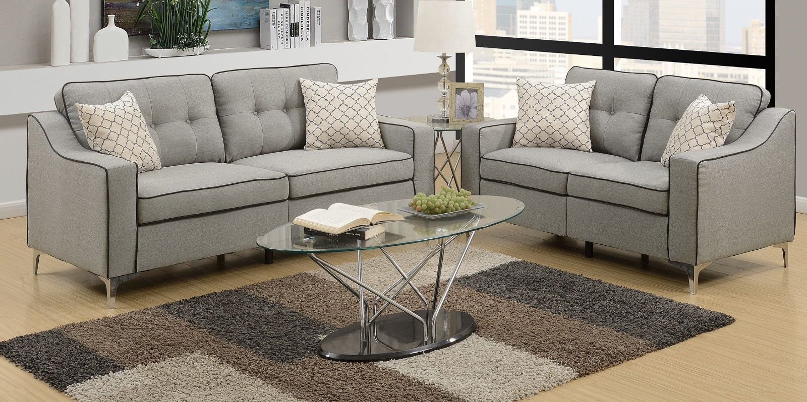 749 99 Light Grey Sofa Loveseat Black Border Linen Fabric Tufted