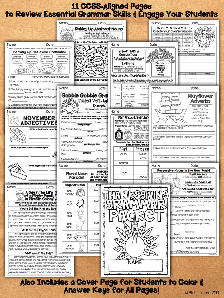 medium resolution of Thanksgiving Grammar Packet   Thanksgiving grammar