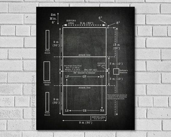 Volleyball Court Patent Print Volleyball Decor Volleyball Wall