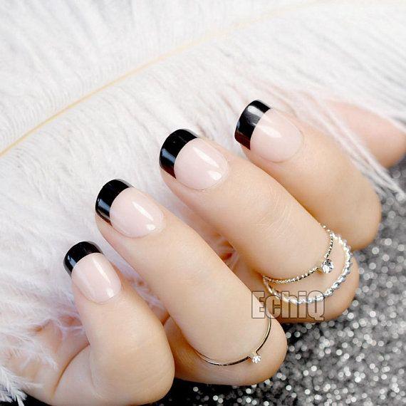 French Manicure Nail Art Fake Nails, Trendy Nails, Pastel Goth False ...