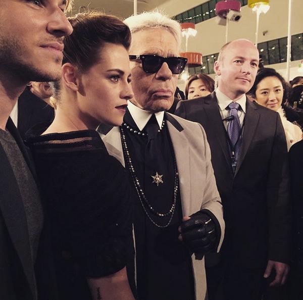 "RT ""@Itsoktobeyouorg Kristen posing with Karl & Gaspard Ulliel (don't fangirl to hard girls lool) #sobadass """