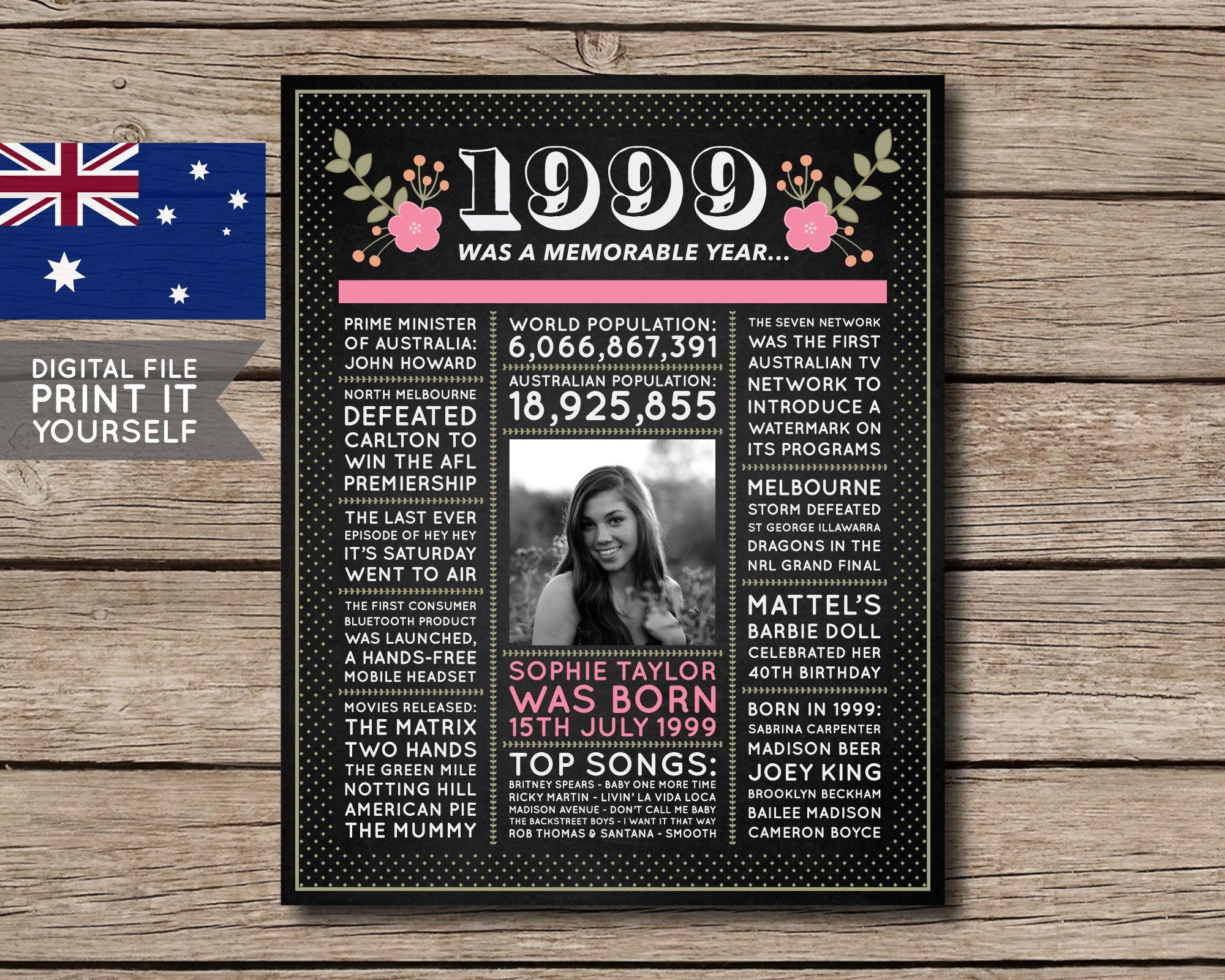 Australian 21st birthday poster chalkboard 1999 21