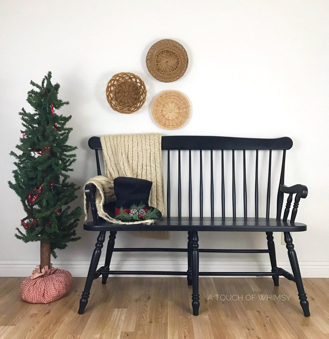 Black spindle bench dining room seating mud room bench