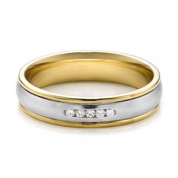 Women S Two Tone Gold And Diamond Wedding Band Joseph Jewelry Seattle Bellevue