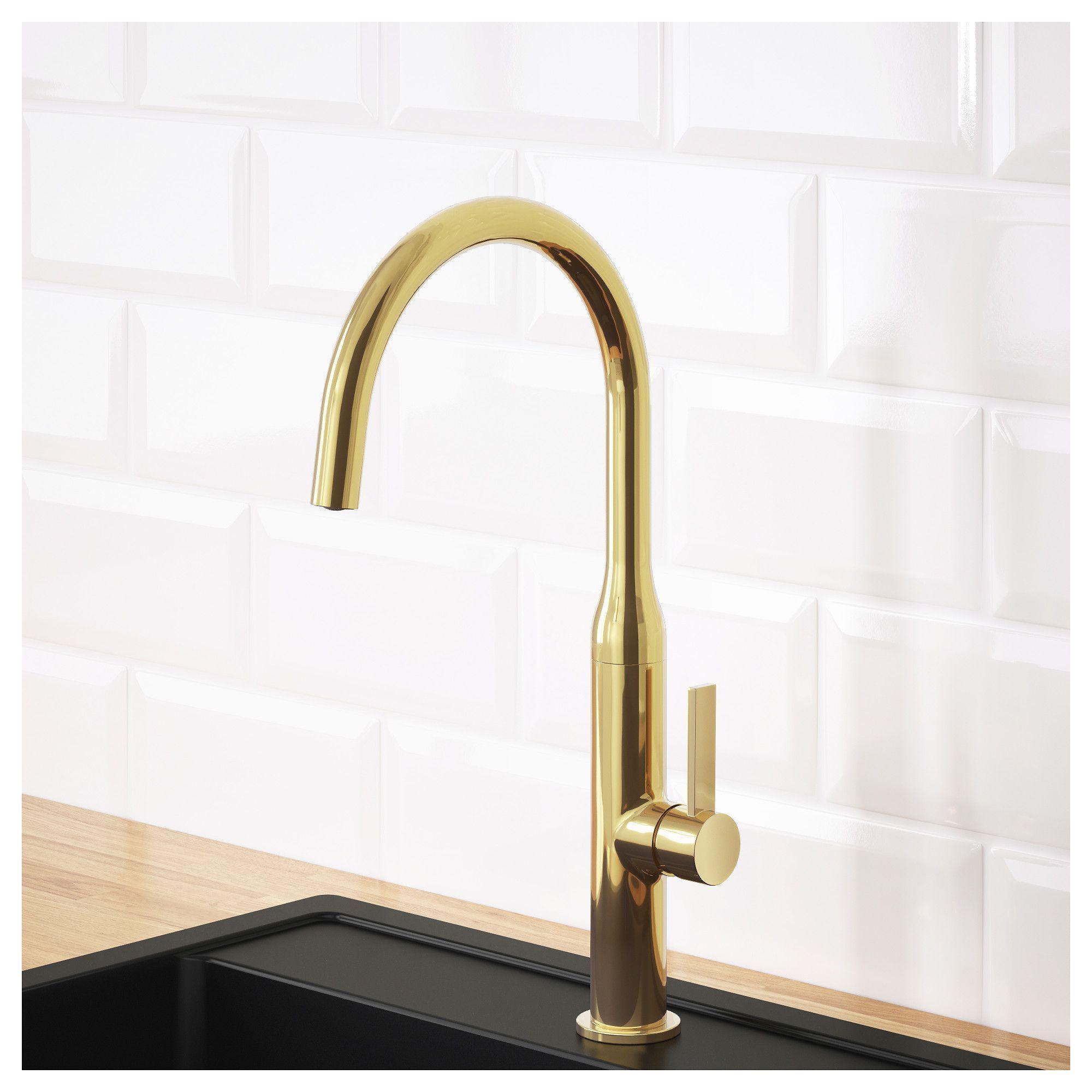 Ikea Nyvattnet Kitchen Faucet Polished Brass Color Brass Kitchen Faucet Brushed Brass Kitchen Faucet Kitchen Faucet