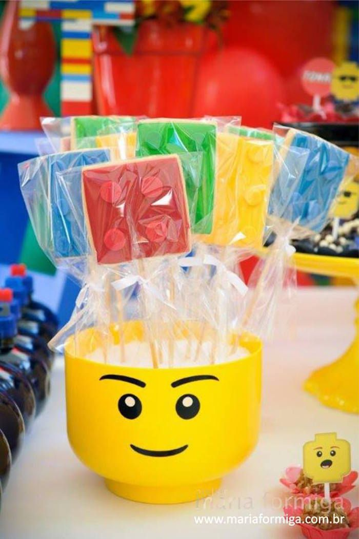 Lego Cookies from a Lego Birthday Party