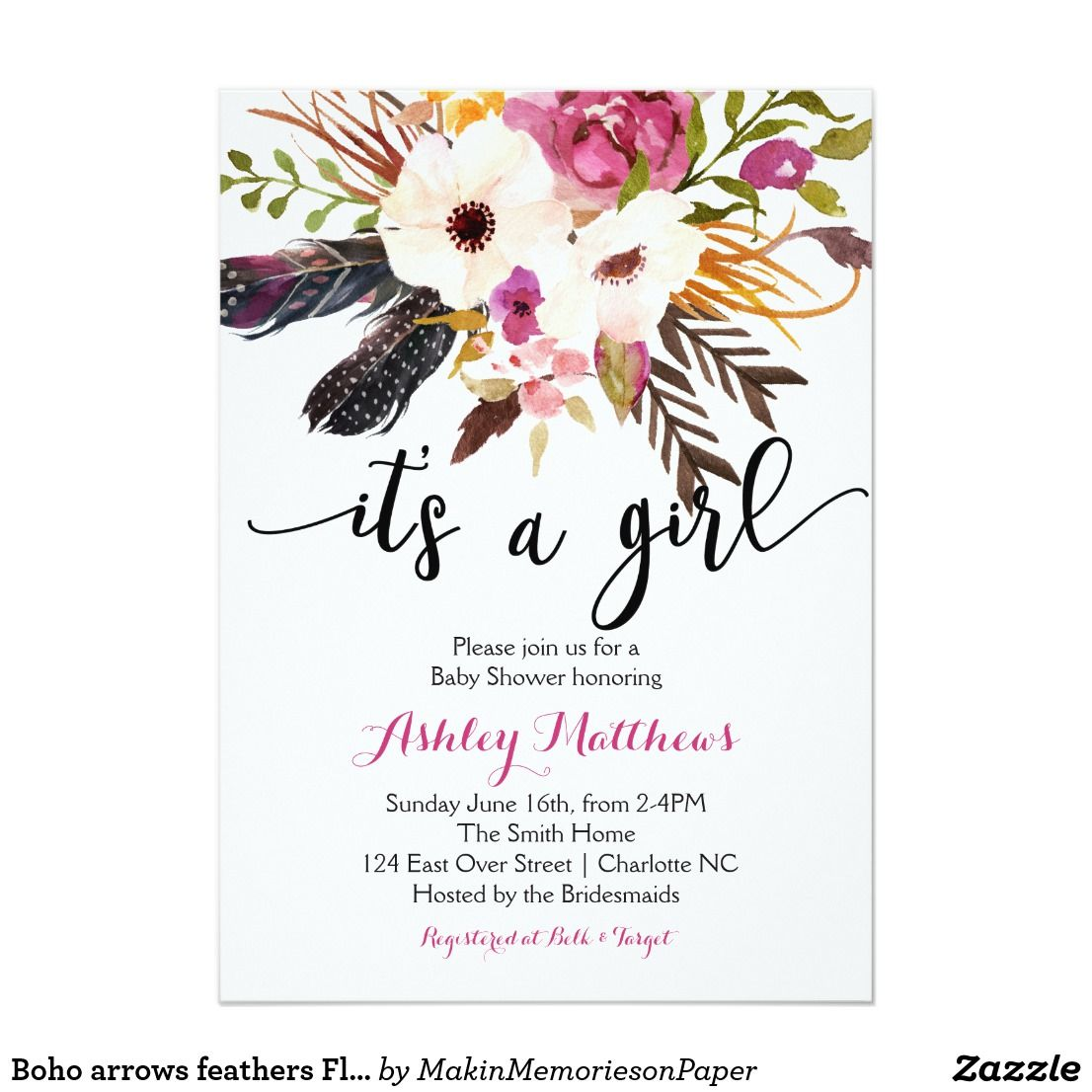 Boho Arrows Feathers Floral Baby Shower Invitation Watercolor