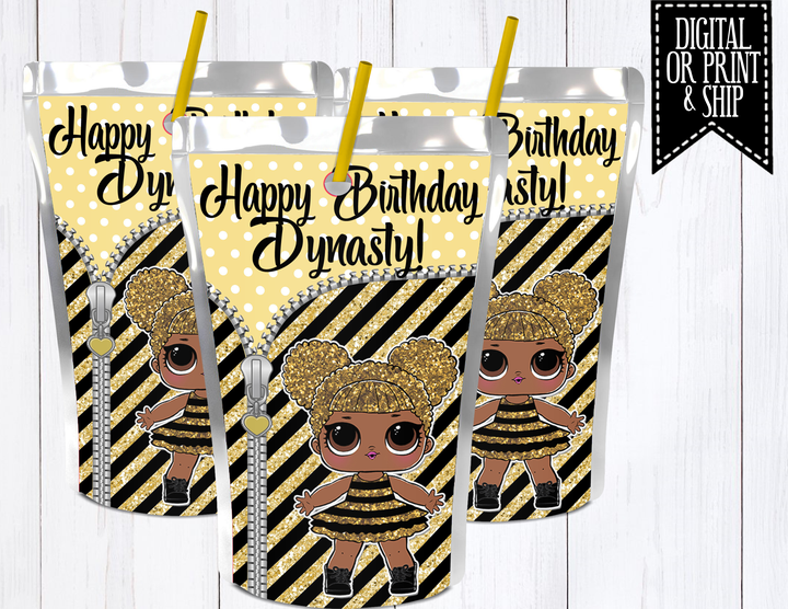 Lol Surprise Dolls Juice Label Queen Bee Shanzcreations Bee Birthday Party Suprise Birthday Party Kids Themed Birthday Parties