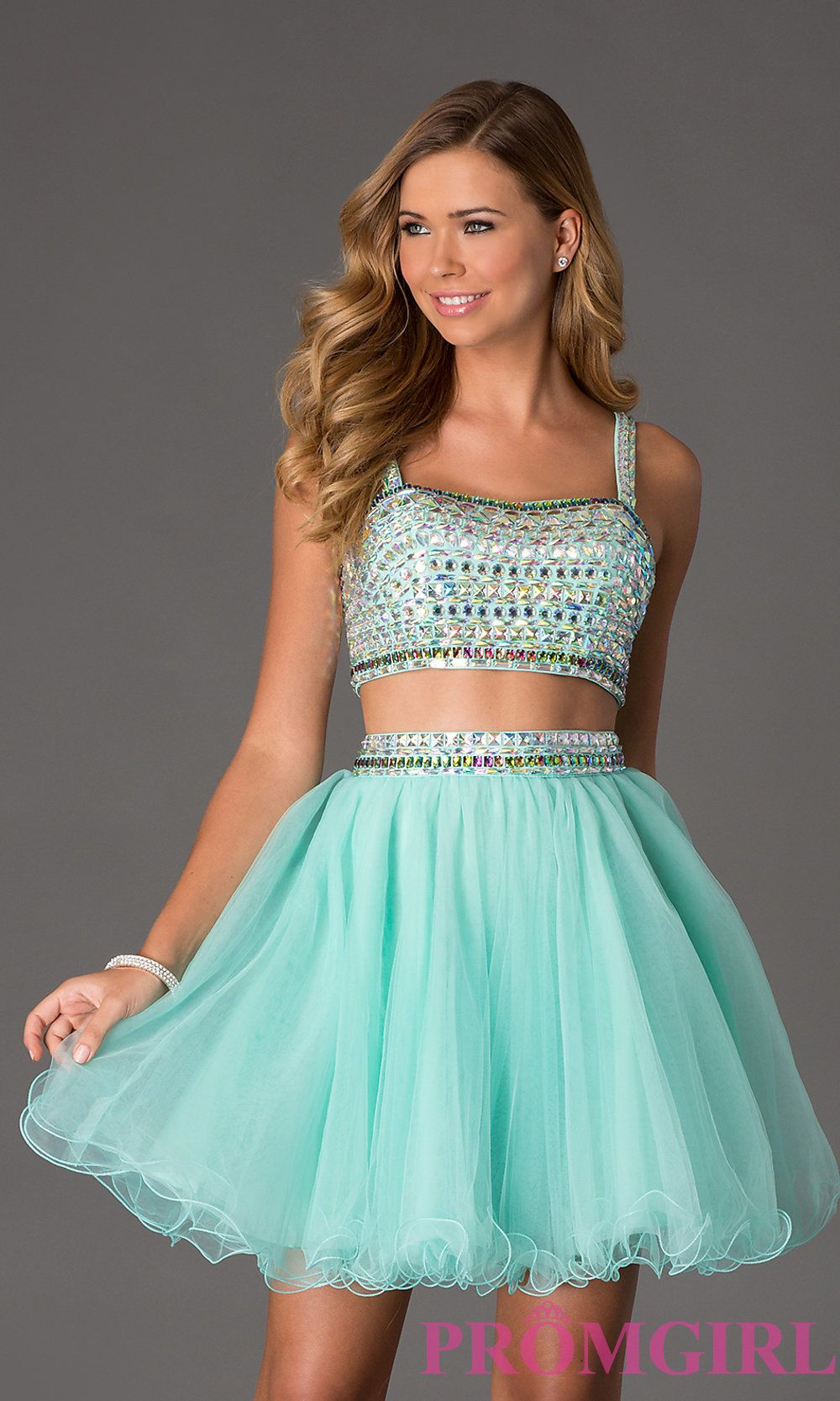 Beaded TwoPiece Short CropTop Prom Dress Short prom