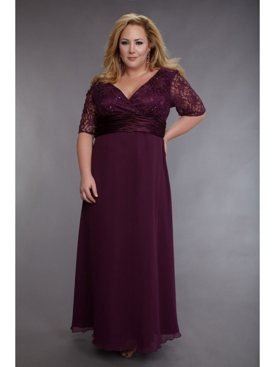 Inexpensive V-neck Chiffon and Lace Plus Size Prom Evening Dresses ...