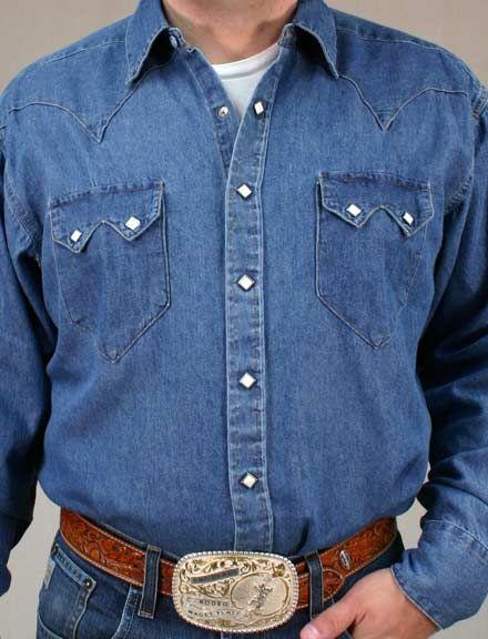 e9060a19 Rockmount Men's Long Sleeve Denim Stonewash Snap Shirt   Cowboy Way ...