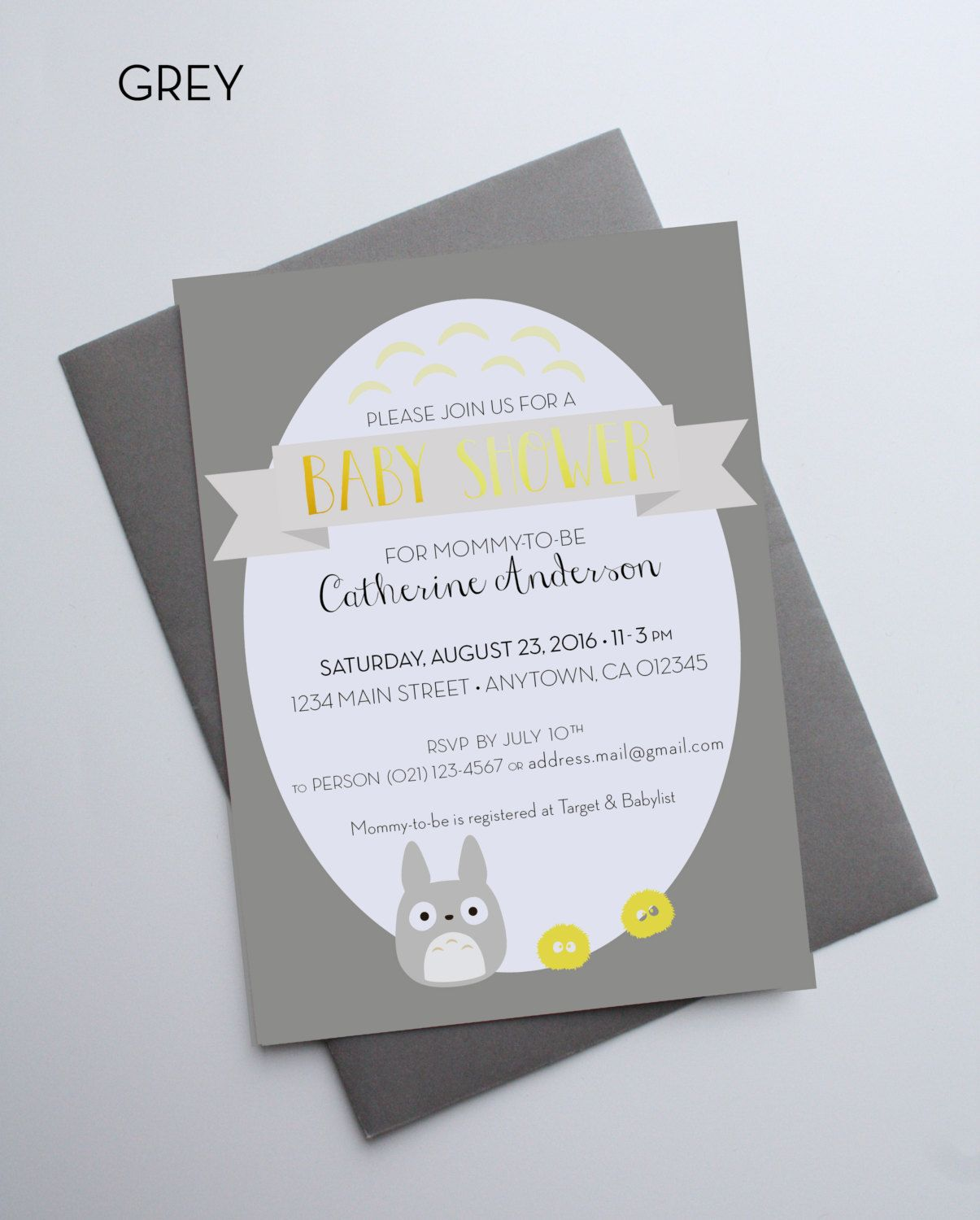 Totoro Baby Shower Invitation Dustbunnies gold foil - Custom cards ...