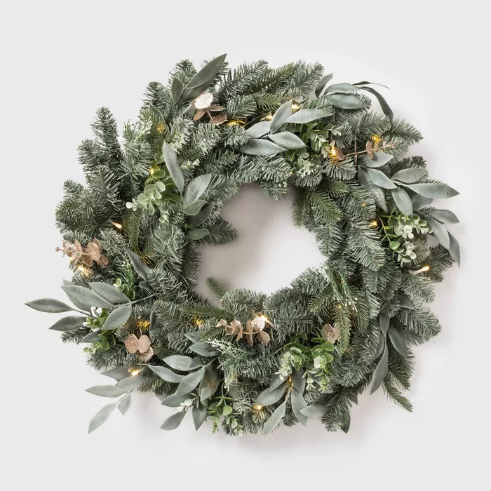 28 Led Battery Operated Mixed Pretty Gold Eucalyptus Wreath Wondershop Target Christmas Wreaths Lighted Wreaths Eucalyptus Wreath