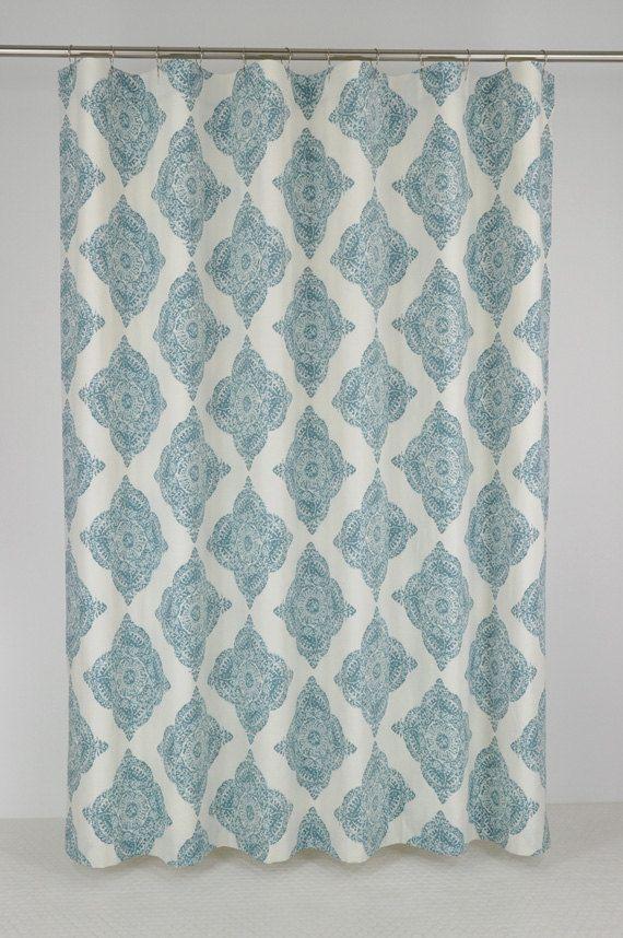 Aqua Medallion Shower Curtain 72 x 72 KILIM DESIGN by PondLilly