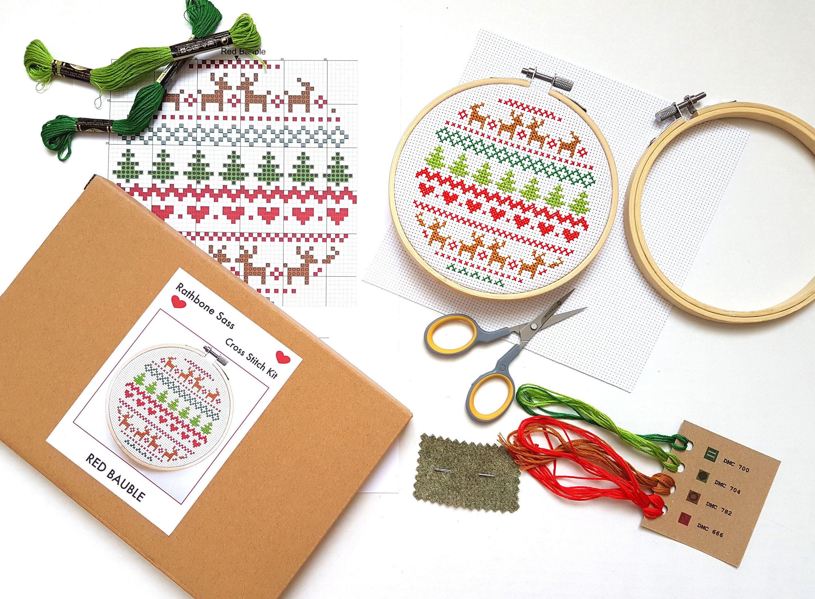 Modern Cross Stitch Kit With Hoop  Christmas Fair Isle