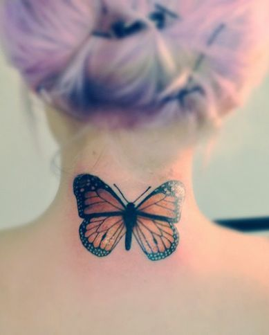 Butterfly Simple Butterfly Neck Tattoos For Girls
