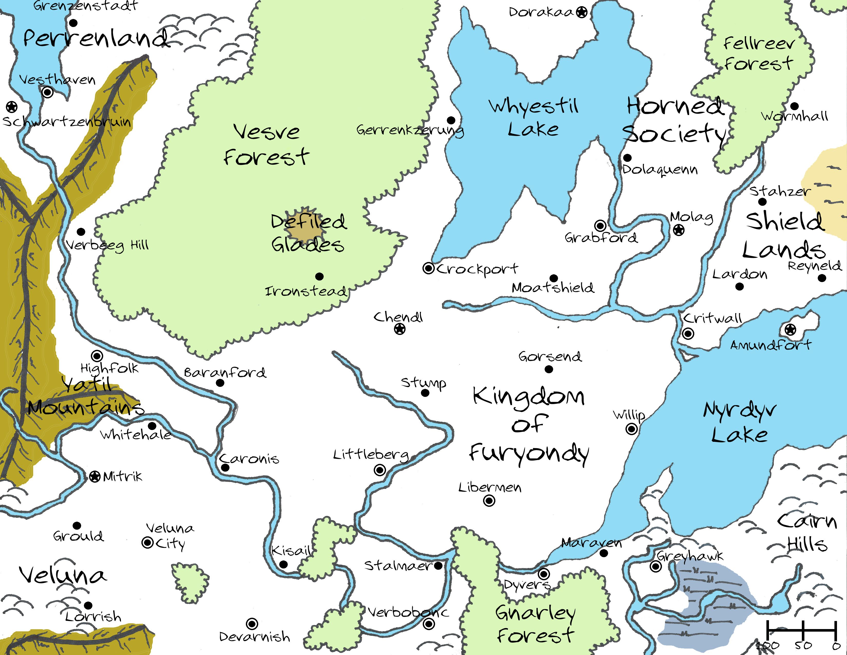 the kingdom of furyondy from the world of greyhawk i hand drew this map and